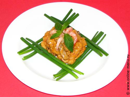 креветки с мясом и соусом