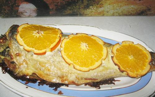 рыба с грибами и апельсинами