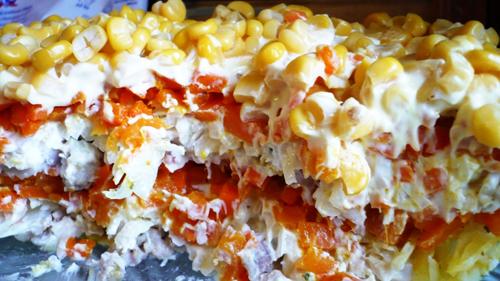рецепты салатов с фасолью с майонезом и мясом