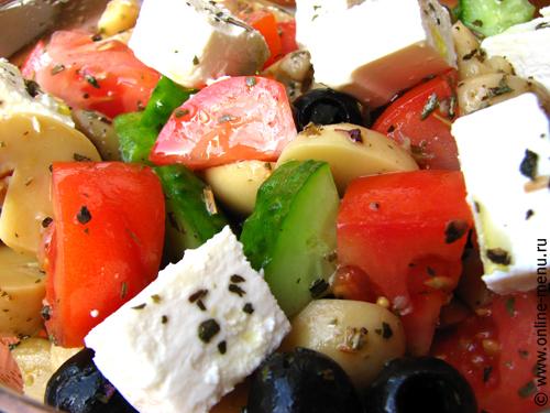 салат овощной с шампиньонами и фетой