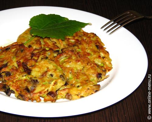 оладьи картофельно-кабачковые с опятами