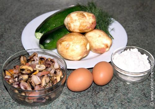 Оладьи кабачковые с морепродуктами